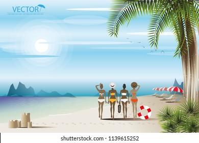 vector four woman walking on the beach