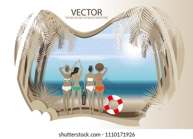 vector four young girl stand on the beach background.summer trip.party card.