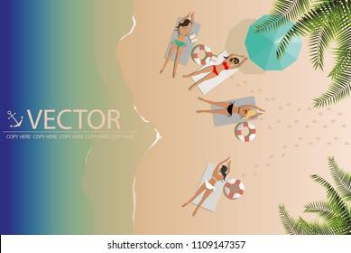 vector four young girls sunbath on the beach.paradise.summer