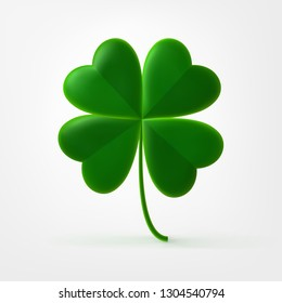 Vector four-leaf clover trefoil. Happy Four Leaf Symbol of St. Patrick's Irish Festival