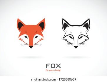Vector of fox head design on white background., Wild Animals., Fox head logos or icons., Easy editable layered vector illustration.