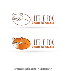 Vector fox logo. Lying fox. Red fox icon vector illustration. Simple line art silhouette of fox.
