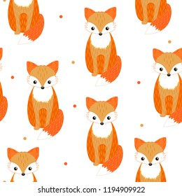 Vector fox seamless pattern. Element for cartoon, shop, icon, game, site, ptint, gift, shirt