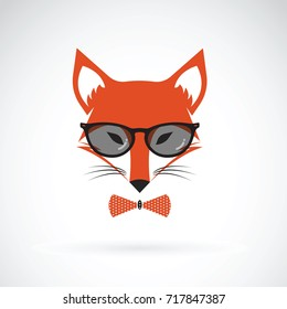 Vector of fox wearing sunglasses on white background. Animal fashion.