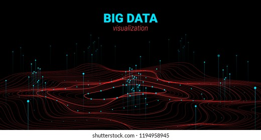 Vector Fractal Element. Cosmic Wave Illustration with Distortion and Movement. Fractal 3d Visualization. Digital Big Data Sorting. Analysis of Big Data Flow. Technology Background with Fractal System.