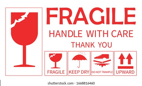 Vector fragile Shipping Labels isolate on white background.