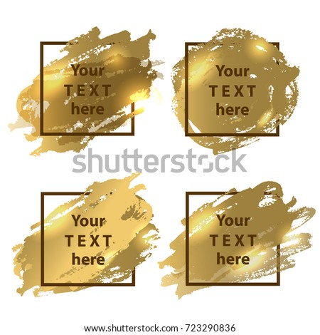 Vector Frame Art Gold Paint Splashes Stock Vector Royalty Free