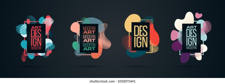 Vector frame Art graphics for hipsters . dynamic frame stylish plastic liquid geometric shapes black background . element for design business cards, invitations, gift cards, flyers brochures.