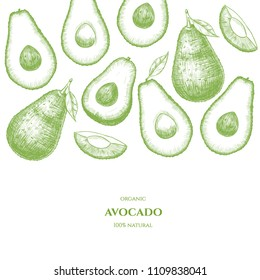 Vector frame with avocado. Hand drawn. Vintage style