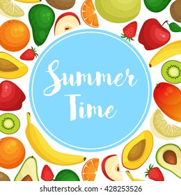 Vector frame background card Summer Time with fresh fruits, organic vegan food. Health nutrition.