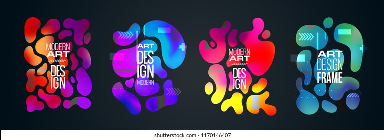 Vector frame background. graphics for hipsters. dynamic frame stylish organic liquid geometric shapes. an element of design of business cards, invitations, gift cards, brochures of leaflets. set4