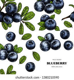 Vector frame with blueberry. Sketch vector  food illustration. Vintage style