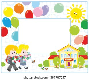 vector frame border with a little schoolgirl and a schoolboy going to school with their schoolbags and flowers on September 1st