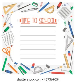 Vector frame or border with school supplies flat icons and a place for your text; Back too school frame; Stationery set.
