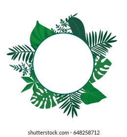 a vector frame or border with tropical leaves; blank to place any text or logo; great for cards or posters