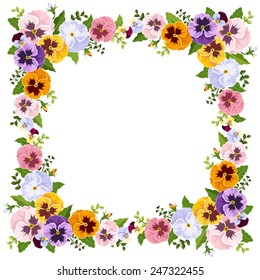Vector frame with colorful pansy flowers.
