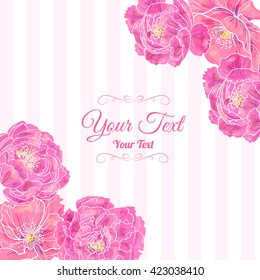 Vector frame corner pattern of pink poppies and peonies  . Invitation or greeting card design.Vector illustration . Invitation or greeting card design.Vector illustration