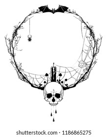 vector frame with death head , candle, bat, spiderweb and mushrooms in black and white