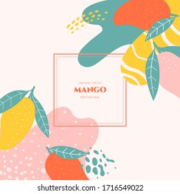 Vector frame with doodle mango and abstract elements. Hand drawn illustrations.