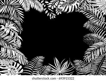 Vector Frame with Exotic Palm Leaves. Hand Drawn Recipe or Menu Background. Black and White illustration in Retro Style.