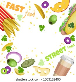 Vector frame fast food and ingredients. Transparent background