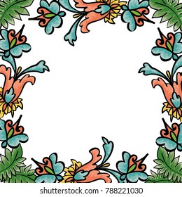 Vector frame with floral ornament