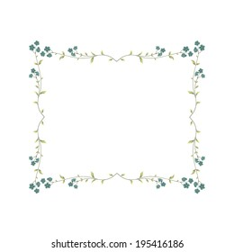 Vector frame with flowers. Greeting card.