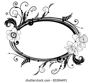 vector frame with flowers of narcissus in black and white colors