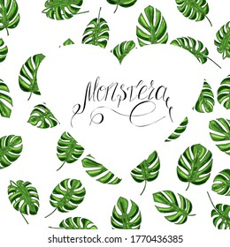 vector frame in the form of a heart from green leaves of monstera and lettering on a white background for design, print, textile, paper