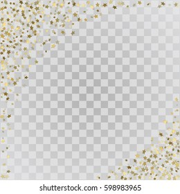 Vector frame of gold confetti. Gold 3d stars on transparent background
