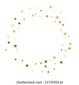 vector frame of gold confetti, golden stars