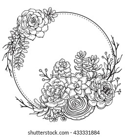 Vector frame with hand drawn composition of succulent plants on white background. Black and white graphic frame for print, coloring book, invitation card.