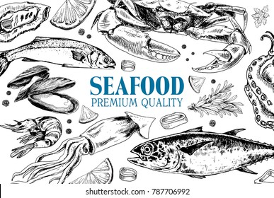 Vector frame with hand drawn seafood illustration - fresh lobster, crab, oyster, mussel, squid and different spice. Decorative card or flyer design with sea food sketch. Vintage menu template.