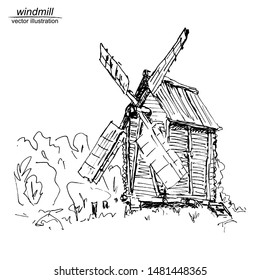 Vector frame with hand drawn windmill on white background. Black and white sketch with line art.