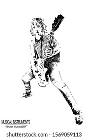 Vector frame with hand guitar player and guitar on white background. Black and white sketch with line art.