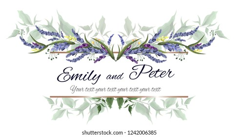 Vector frame for invitation. Green leaves, lavender flowers. All elements are isolated.