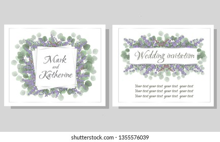 Vector frame for invitation. Green leaves, lavender flowers. All elements are isolated. A wedding invitation card.