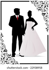 vector frame, Just married couple silhouette