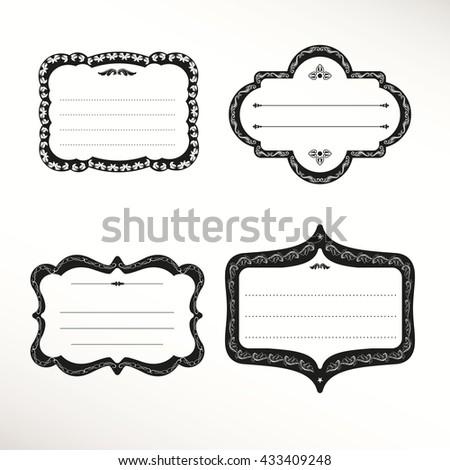 5fdcfa57eaa7 Vector Frame Labels Set Ornamental Vintage Stock Vector (Royalty ...