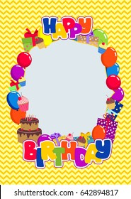 Vector frame with lettering happy birthday, balloons, gift boxes, cake, cupcakes, on chevron pattern in bright colors.