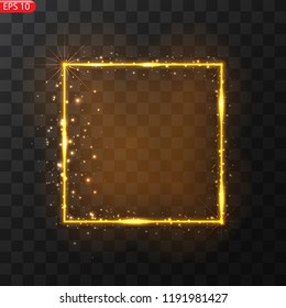 Vector frame with lights effects. Shining rectangle banner. Isolated on black transparent background. Vector illustration, eps
