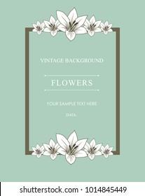 Vector frame with lilies. Vintage floral frame. Vector illustration