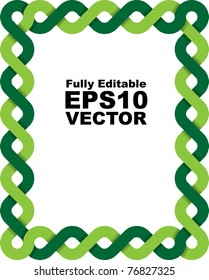 Vector frame made of two braided green lines