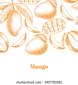 Vector frame with mango . Hand drawn. Vintage style