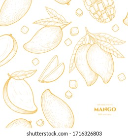Vector frame with mango. Hand drawn. Vintage style