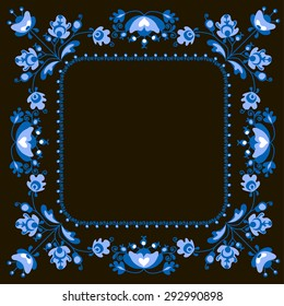 Vector frame on a black background with floral ornament in folk style. Template frame design for card. Can be used for packaging, invitations, decoration etc
