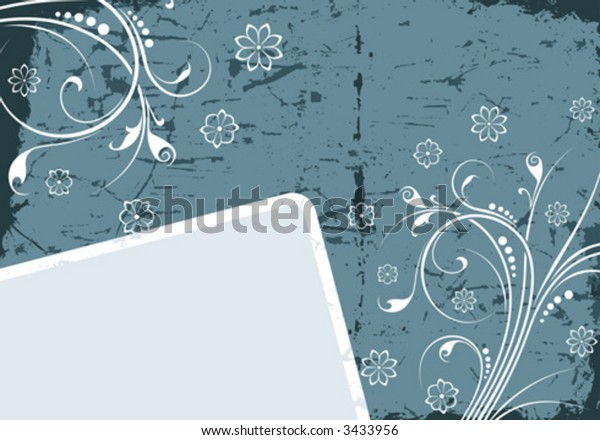 Vector frame on a grunge background with floral elements