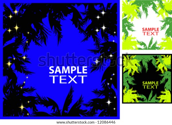 Vector. Frame with palm design.  Nightly. Green. Jungles.