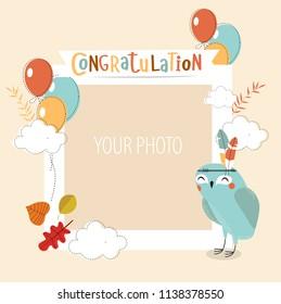 "vector frame for a photo with a nice cartoon owl and phrase""congratulations"". birthday, invitation card, postcard"