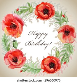 Vector frame with red watercolor poppy flowers. Greeting card